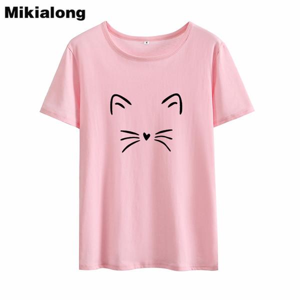 Compre Mikialong Dos Desenhos Animados Gato Impresso Tshirt