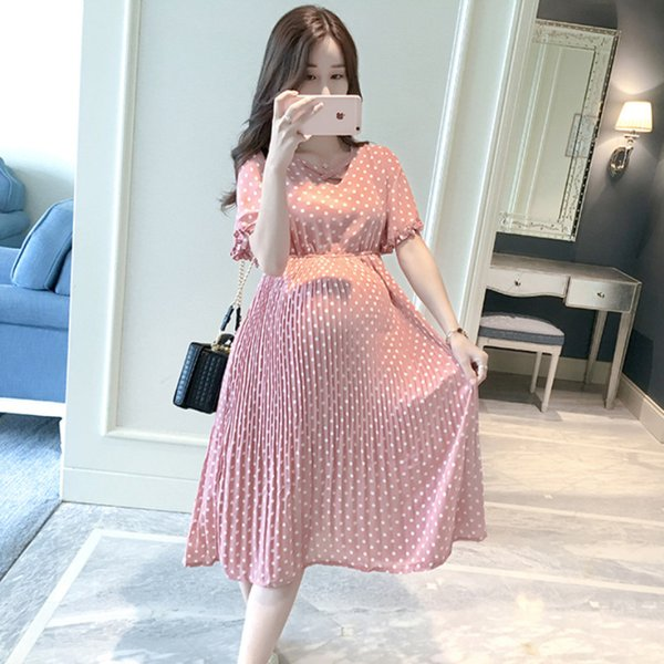 Pregnant Women Midi Pleated Chiffon Dress Pink Polka Dots Summer Pregnancy Clothes Loose Maternity Dresses