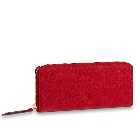 2019 M63698 RED CLÉMENCE WALLET Real Caviar Lambskin Chain Flap Bag LONG CHAIN WALLETS KEY CARD HOLDERS PURSE CLUTCHES EVENING