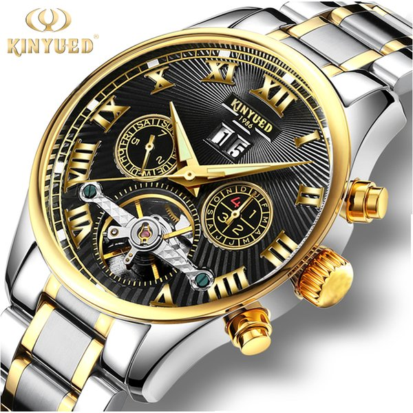 KINYUED Classic Skeleton Tourbillon Mechanical Watch Men Stainless Steel Band Self Winding Automatic Men's Watches Male Horloges C18111601