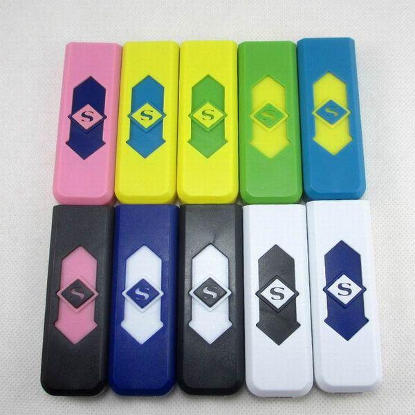 Sigara Çakmak USB Şarj Edilebilir Pil Elektronik Sigara Çakmak Rüzgar Geçirmez Alevsiz Hiçbir Gaz Yakıt ABS Alev Geciktirici Plastik