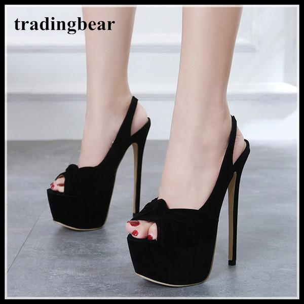 f16b3f5b5b1d5e 16cm fashion luxury designer women shoes high heels bowtie peep toe platform  pumps size 35 to 40