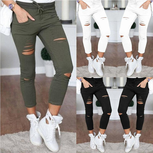 top popular Women Denim Skinny Jeans Pants Holes Destroyed Knee Pencil Pants Casual Trousers Black White Stretch Ripped Jeans 2020