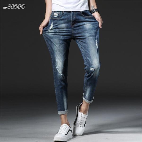 New brand man jeans blue ripped jeans for men slim fit classic Pencil pants men fashion Korean style #902
