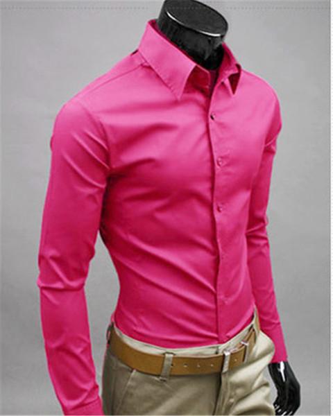 New Fashion Brand Rose red Groom Shirts Long Sleeve Shirt Men Slim Design Formal Casual Male Dress Shirt Size M-5XL (C8012)