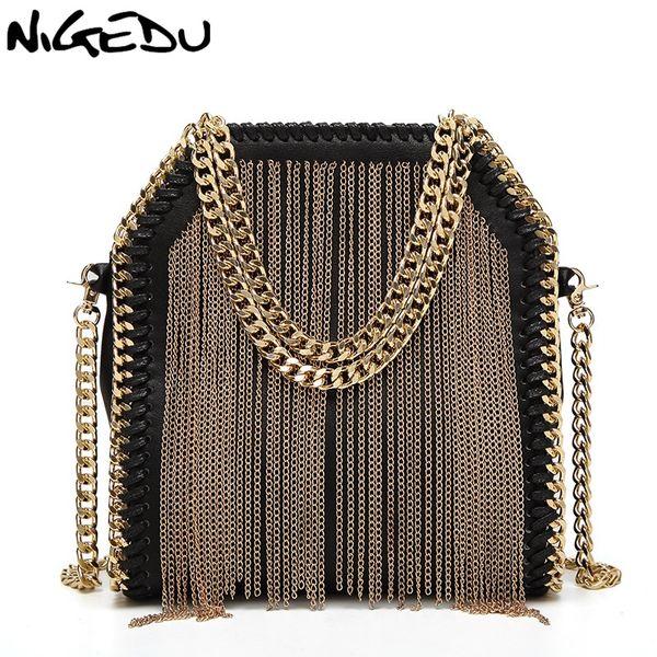 NIGEDU brand design metal tassel women handbag small Weaving chain Women's Shoulder bag lady Crossbody messenger Bags bolsas