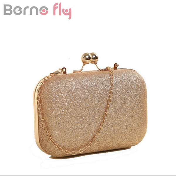 Berno fly Brand New Woman Evening bag Gold Glittered Hasp Clutch bags Wallet Wedding Handbags Party Banquet girls shoulder bag Y18110101
