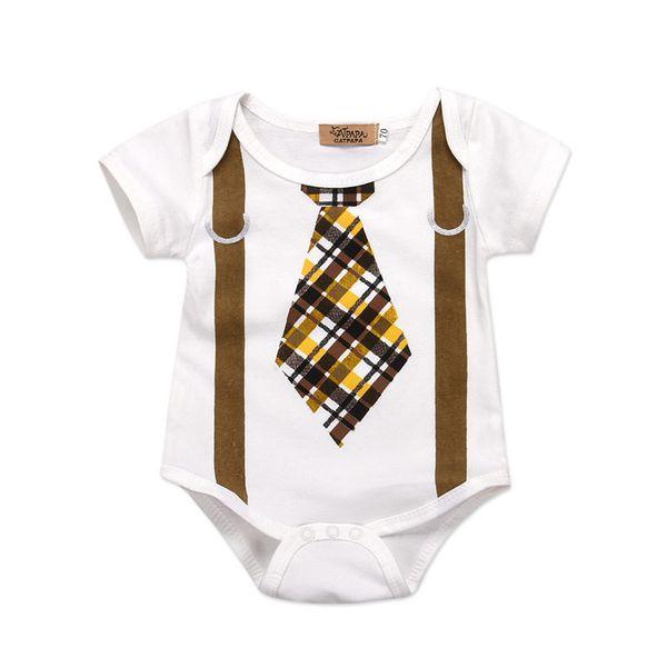 Mikrdoo Baby Boy Girl Summer Cute Short Sleeve Clothes Plaid Tie Suspender Bodysuit Romper Toddler Newborn Baby Lovely Suit