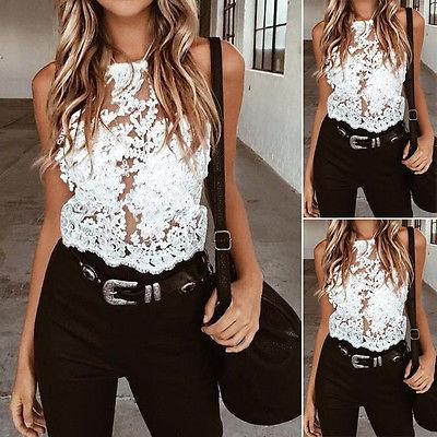 Fashion Women Lace Summer Sleeveless Shirt Blouse Casual Tank Top Floral Lace Hollow Out New Hot Summer Blusas
