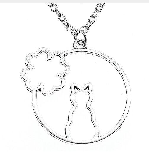 Fashion 20pcs/lot Tibetan Silver Vintage Hollow Flower Cat Charms Pendant Chain Sweater Necklace Jewelry DIY