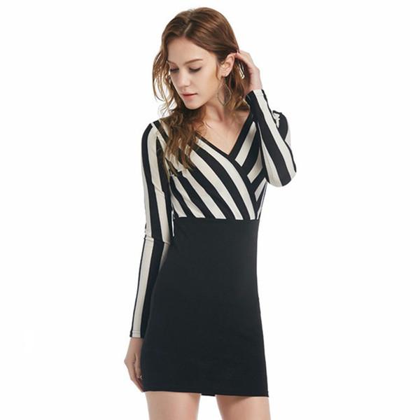 Новый глубокий V-образным вырезом вертикальные полосы шить сексуальный пакет хип длинным рукавом платье