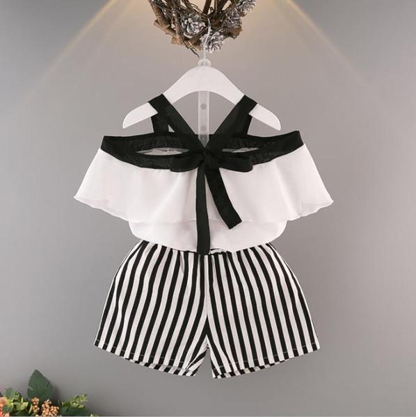 2018 Одежда для девочек девочка короткие брюки наборы без рукавов белая футболка наборы девушки мода Оптовая Детская одежда девушка одежда набор