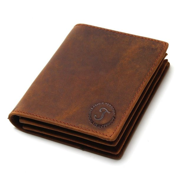 New Crazy Horse Pied Card Short Wallet Men's Vertical, Cross Leather Two-Fold Leather Brown Wallet