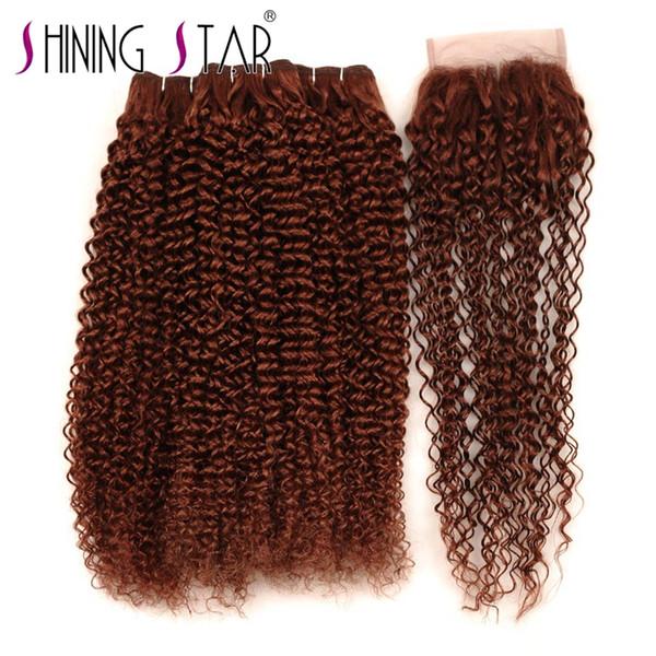 Cor 33 Feixes de Cabelo Encaracolado Com Fechamento Direto Da Fábrica de Alta Qualidade Feixes de tecer cabelo Brasileiro Virgem