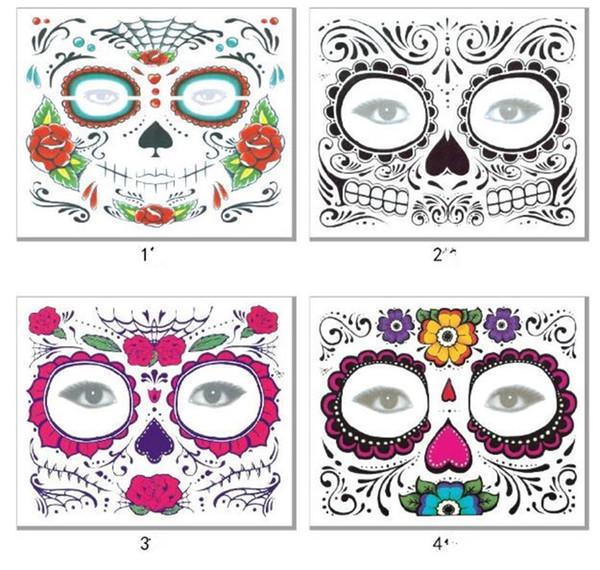 Fête de Noël Jour du visage de la morte face tatouage Halloween et boule de mascarade doit joli tatouage autocollant imperméable à l'eau face tatouage X131