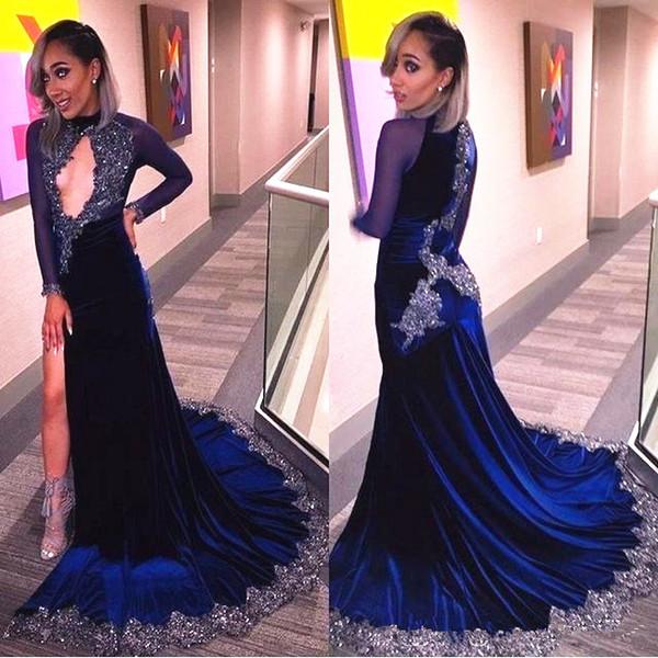 Königsblau Samt Abendkleider Langarm High Neck Hohl Mieder Sparkly Appliques Side Split Meerjungfrau Prom Kleider Pageant Kleid