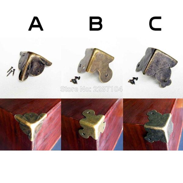 12 pcs Heavy Duty Decoração De Ferro De Metal de Bronze Antigo Caixa de Presente de Jóias De Madeira Caixa De Presente De Madeira Móveis Guarda Canto Protetor