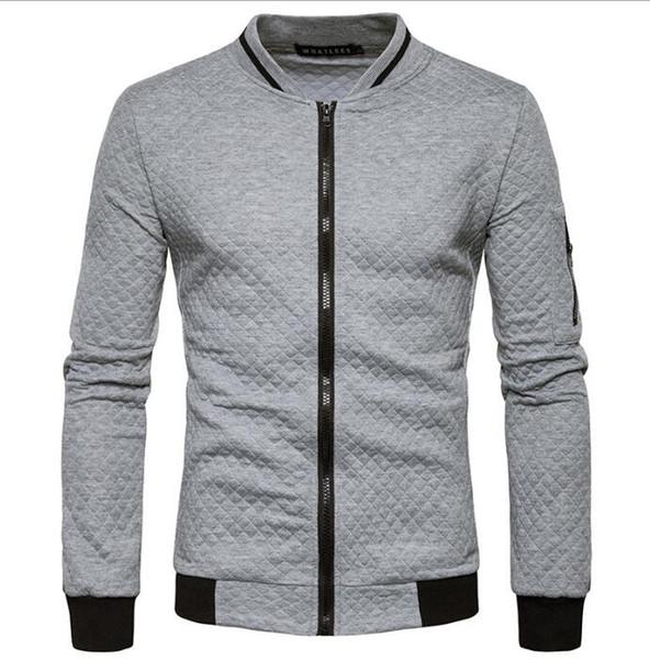 bfdf30224 2019 Zipper Collar Casual Hoodie Coat Mens Bomber Jacket Designer  Sweatshirts Contrast Color Sportswear Fashion Coats Mens Outwear Streetwear  From ...