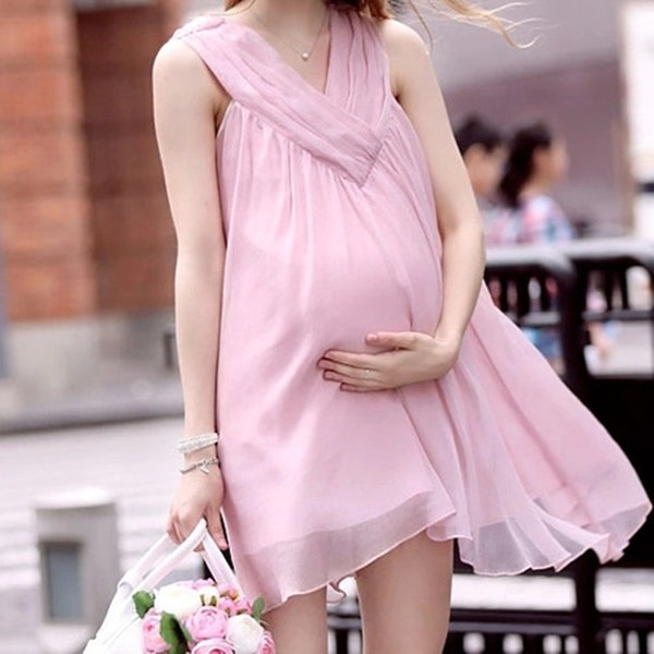 chiffon dresses maternity clothing v-neck cotton sleeveless pregnancy clothes for pregnant women