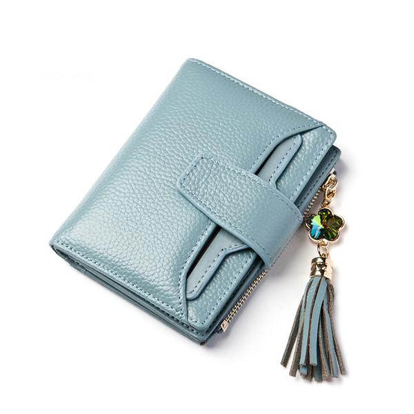 Marke echtes leder geldbörse frauen kurze brieftaschen farbe diamant quaste luxus lady kupplung brieftasche kuh 3 falten mini geldbörse