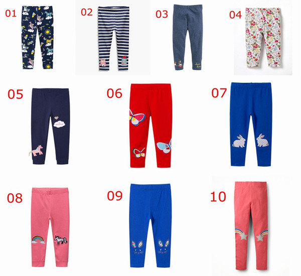 INS Unicorn Print Girls Leggings bordado Baby rayas Leggings for Girls Pants 100% Cotton Print Niños Pantalones Skinny Pants para 2-7Y