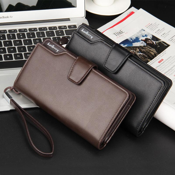 Men wallets 2018 New Luxury Male PU Leather Money Clutch Bag Brand Orgaziner Wallet With 20 Card Holders and Strap 016-3