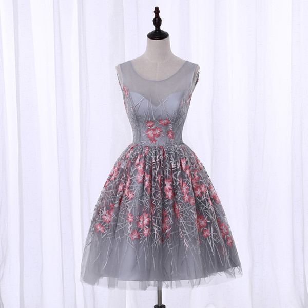 Real Photos Girls Custom A-Line Scoop Embroidery Short Homecoming Dresses Grey Elegant Knee Length Graduation Dresses for Wedding Prom Party