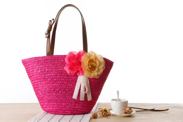 New garden two flowers and plants package solid color woven bag beach bag