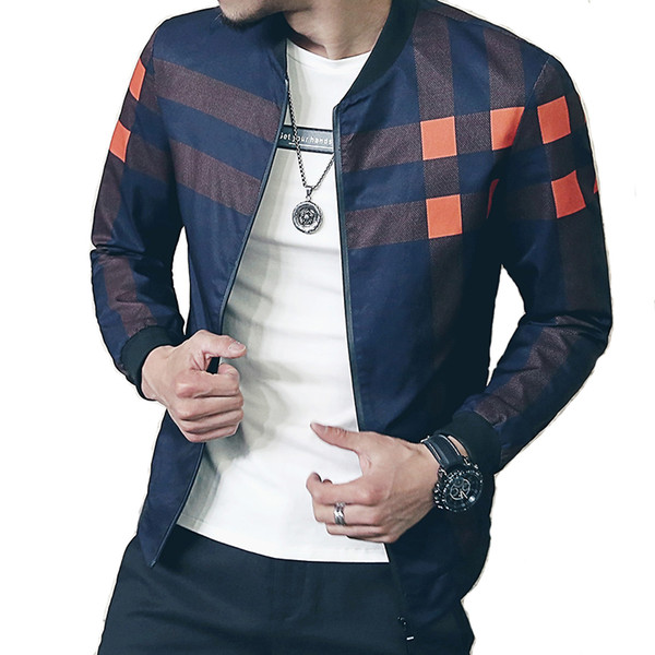 Loldeal Bomber Baseball Jacket Plaid Windbreaker 2018 For Men Autumn Style Active jaqueta masculinat Male S1015