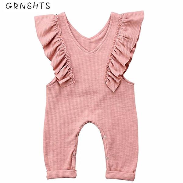 2018 Brand New Toddler Infant Kids Baby Girls Summer Sleeveless Overalls Jumpsuits Bell Solid Sleeveless Sunsuit Newborn Onesie