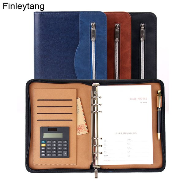 High Quality Business Notebook With Calculator Multifunction Manager Folder Padfolio PU Leather Zipper Notepad Travel Agenda A5