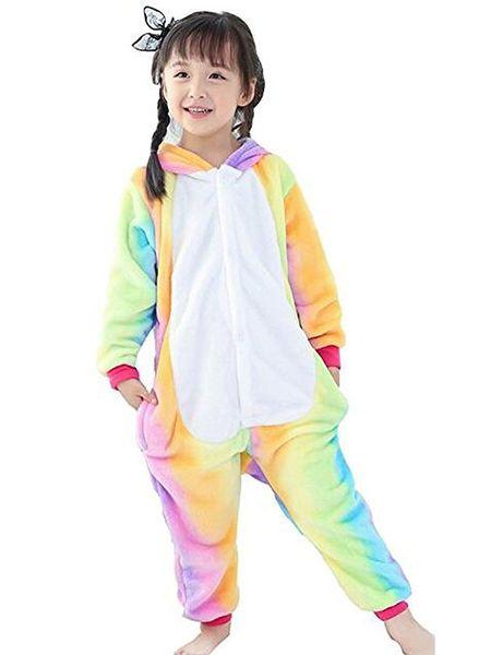 Kids Rainbow Unicorn Pajamas Animal Unicorn Jumpsuit Sleepwear For Christmas Gift