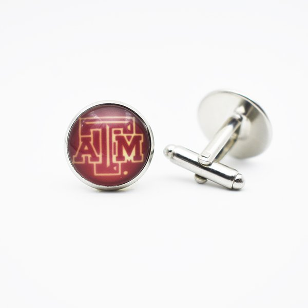 10Pair American Sports University Sport Team NCAA Texas A&M Aggies Cuff Links Jewelry Fit For Fans Men Time Gem Cufflinks Jewelry Gift