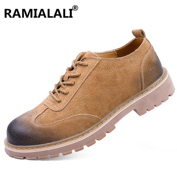 RAMALALI Botas de Hombre de Cuero Genuino de Invierno de Genuino Zapatos de Hombre Botas de Invierno Masculino Zapatos de Trabajo de Cuero de Tobillo de Los Hombres Bota Masculina