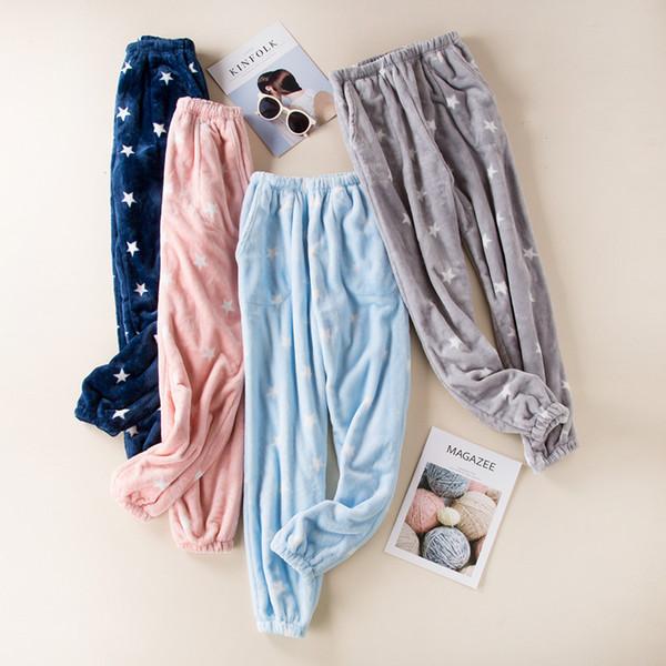 Casual Sleep Bottoms for Women Flannel Autumn Winter Sleep Pants Women Nightwear Pajama Pants Plus Size Sleepwear Fit 45-80kg