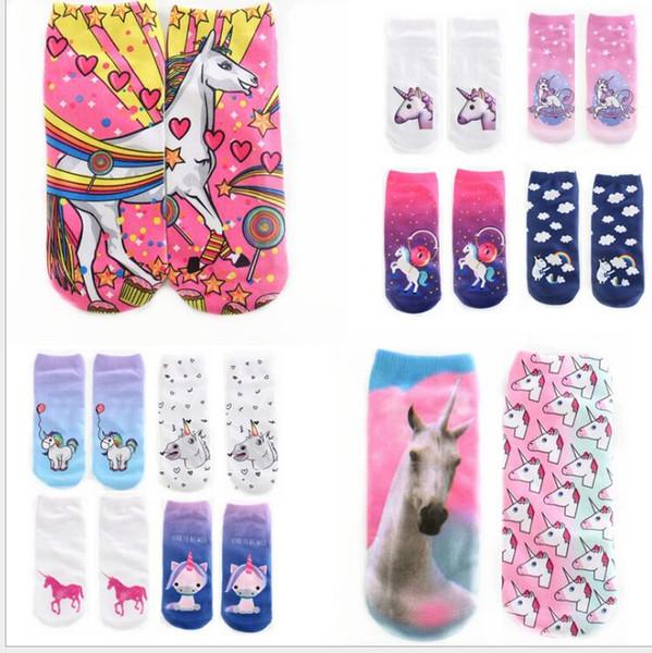 summer Sport ankle sock Printing kids adult Socks 3D Printed Stocking Unisex unicorn SOX Socks Hip Hop Soft Cotton Harajuku Sock