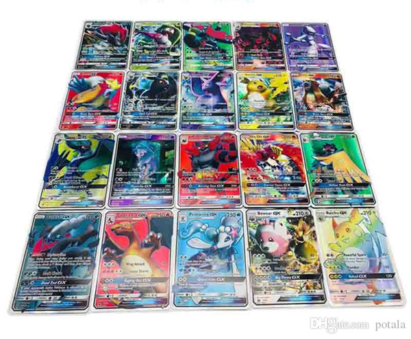 120pcs/lot Anime Trading Cards 120GX+Trainer Games EX Mega Cards Cartoon English Party Card for Child Adult Poker Fun card shine box package