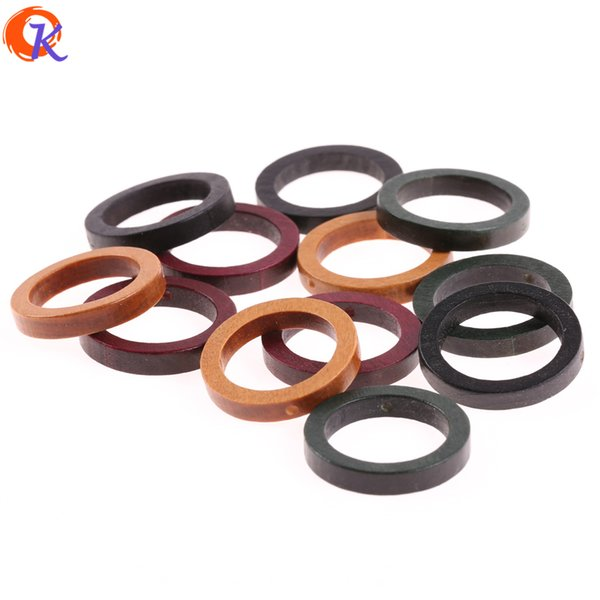best selling wholesale 200Pcs 30*30MM Jewelry Accessories Wood Beads Environmental Paint Ring Shape DIY Hand Made Earring Findings
