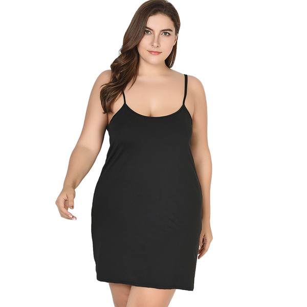 4xl Sexy Party Plus Size Cami Dress 5xl Black Sleeveless Above Knee Sheath Women Dresses 6xl 7xl Slim Fit Summer Pencil Dress