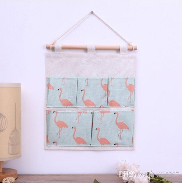 29.5*31CM Creative Green Flamingo Cotton Linen Door Hanging Bag 5 Pockets Wall Mounted Storage Bag Sundries Organizer Pouch Waterproof Bag