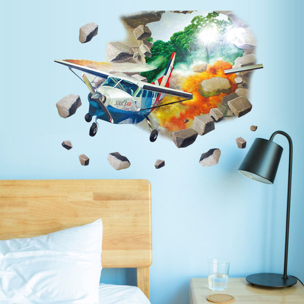 3D Airplane Baby Wall Stickers Wall Decor Art Decal Decoration Vinyl Stickers Removable Kids Wallpaper free shipping