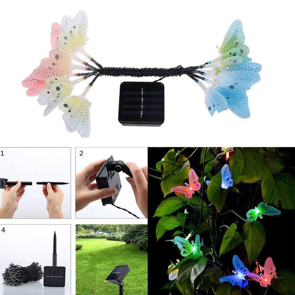 New 12 Led IP45 Solar Powered Butterfly Fiber Optic Fairy String Waterproof Christmas Outdoor Garden Holiday Lights