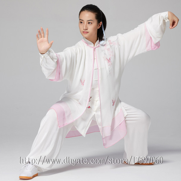 top popular Chinese Tai chi garment Kungfu uniform taijiquan suit outfit Flower Embroidery clothes for women men girl boy children adults kids 2020