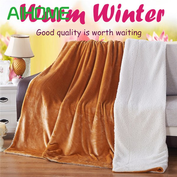 Free DHL 150*200cm Solid Color Flannel Blanket Sofa Bedding Throws Spring Autumn Thick Warm Smooth Two Sided Lamb Fluff Blankets