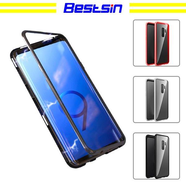 Bestsin Magnetic Adsorption Flip Case pour Samsung Galaxy S8 S9 Plus Note 8 Note9 En Verre Trempé Dos Couverture En Métal De Luxe