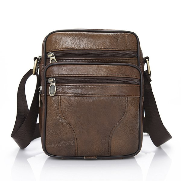 Factory Direct New Pattern Genuine Leather Male Package Man Satchel Shoulder Package Head Layer Cowhide Men's Leisure Time Bag