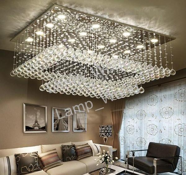 Großhandel Moderne Zeitgenössische Fern LED Kristall Kronleuchter Mit LED  Leuchten Für Wohnzimmer Rechteckig Bündig Montieren Deckenleuchte Von ...