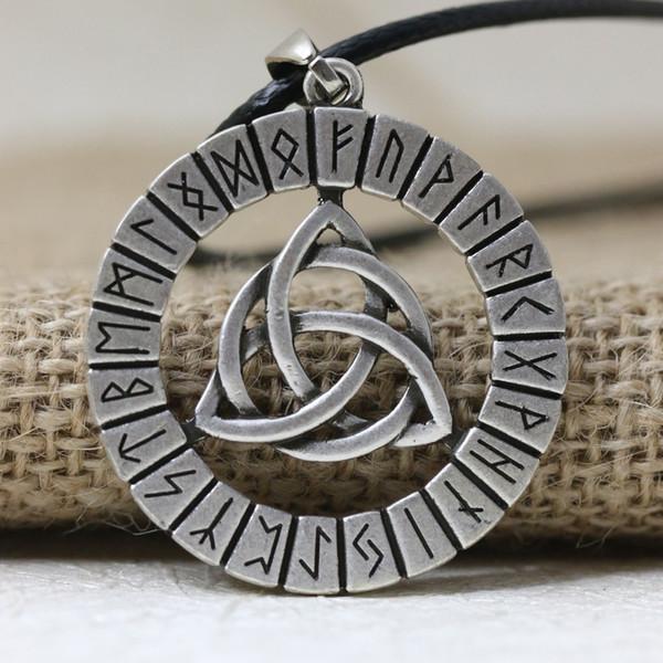 LANGHONG 1 adet İskandinav Vikings Rune Muska Kolye Kolye Viking Düğüm Orijinal Muska Kolye Kolye Tılsım