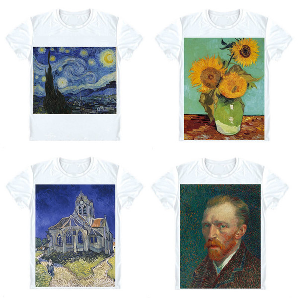 Vincent Van Gogh T-Shirts Short Sleeve Shirts Oil Painting The Starry Night The Church In Auvers Sunflowers Cosplay Shirt