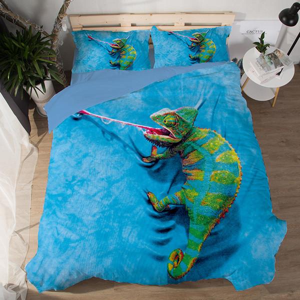 Set biancheria da letto 3D Lucertola Tik Tok Cat Cane Delfino Motivo animale stampato Copripiumino Federa doppia completa matrimoniale King Size 3pcs biancheria da letto